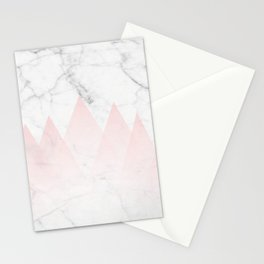 White Marble Background Pink Abstract Triangle Mountains Stationery Cards