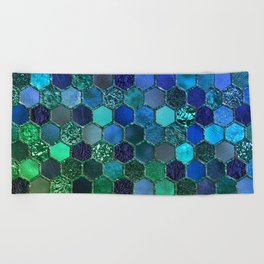 Blue & green geometric hexagonal elegant & luxury pattern Beach Towel