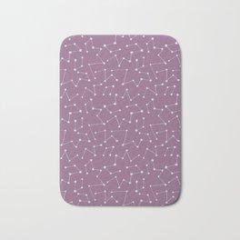 Starry Night Sky Constellations on Purple Background Bath Mat