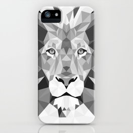 Large Silver Lion Head iPhone Case