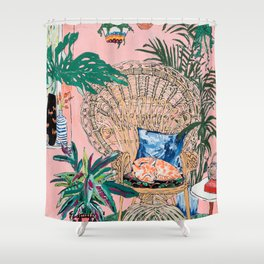 Ginger Cat in Peacock Chair with Indoor Jungle of House Plants Interior Painting Shower Curtain
