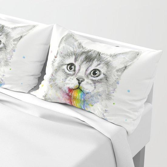 Kitten Puking Rainbows Cat Rainbow Vomit by olechka