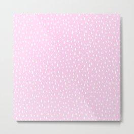 Baby Pink Paint Drops Metal Print