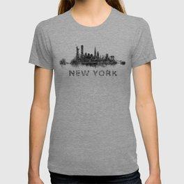 NY New York City Skyline NYC Black-White Watercolor art T-shirt