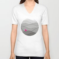 waves V-neck T-shirts featuring Waves by S.Y.Hong