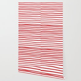 Red hand drawn stripes Wallpaper