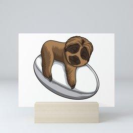 Cute Sloth Sleeps On A Rugby Ball Mini Art Print