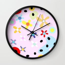 Pink small flowers Wall Clock