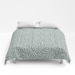 Medium Gray Green and White Polka Dot Pattern Comforters