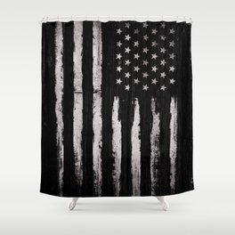 White Grunge American flag Shower Curtain