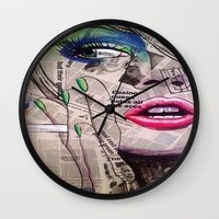 newspaper Wall Clocks featuring NewsPaper  by cchelle135