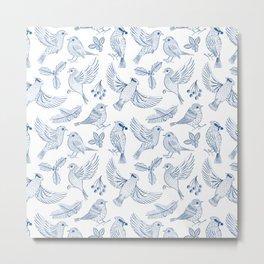 Winter Birds and Foliage Pattern (Blue) Metal Print