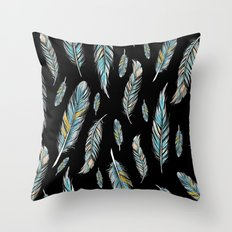 feather black Throw Pillow