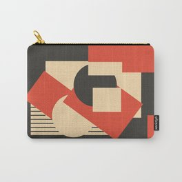 Geometrical abstract art deco mash-up scarlet beige Carry-All Pouch