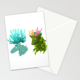Coral deer -  Blue and kelp Stationery Cards