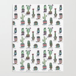 Cactus and Succulent Pattern Poster