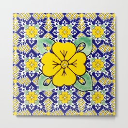 talavera mexican tile in yellow and blu Metal Print