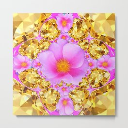 November Citrine Gems & Pink Roses Art Metal Print