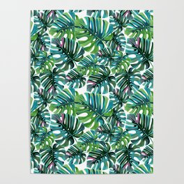 Elephant Tropical Leaves Pattern Poster
