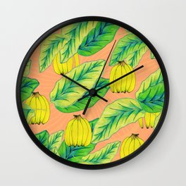 Banana Jungle - Peach Wall Clock