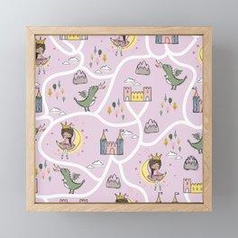 Childish seamless pattern with princess and dragon Framed Mini Art Print