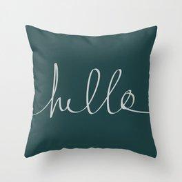 Hello x Dark Turquoise Throw Pillow