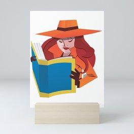 female spy with book Mini Art Print