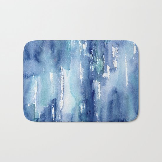 Blue vibes #2 || watercolor Bath Mat