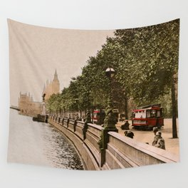 Vintage The Embankment, River Thames, London Wall Tapestry