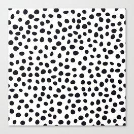 Hand Drawn Polka Dots, Spots Black &  White Canvas Print