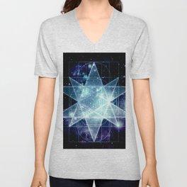 Galaxy Sacred Geometry : Stellated Icoshadron Blue Unisex V-Neck
