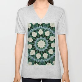 Sacramento Green and Cerulean Blue Mandala Unisex V-Neck