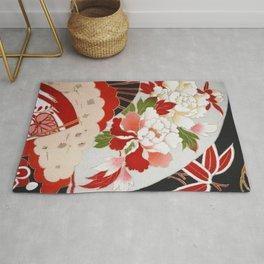 Japanese Floral Wedding Kimono Pattern Rug