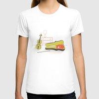 violin T-shirts featuring Cat & Violin by Jenny Tiffany