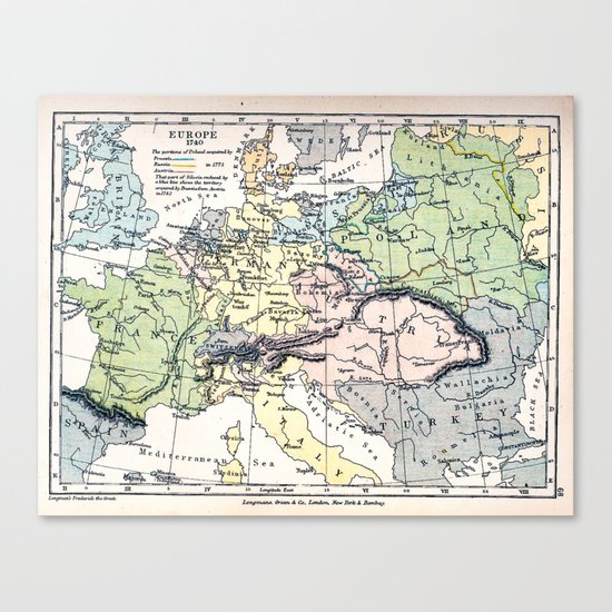 Europe in 1740 - Vintage Map Collection Canvas Print