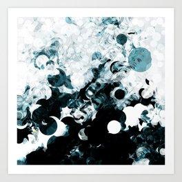 Modern Splash of Turquoise Black White Design Art Print