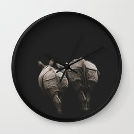 Together Forever | Rhino Couple | Rhinoceros | Vintage Art Wall Clock