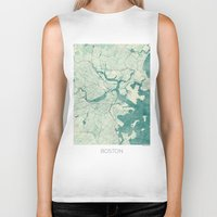 vintage map Biker Tanks featuring Boston Map Blue Vintage by City Art Posters