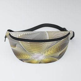 Gold And Silver, Abstract Flower Fractal Fanny Pack