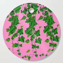 GREEN IVY HANGING LEAVES & VINES ON PINK Cutting Board