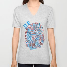Face, Blue/Red Abstract (Ink Drawing) Unisex V-Neck