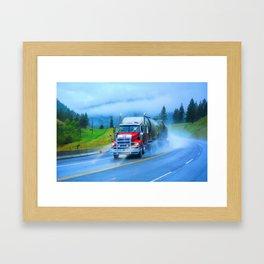 Driving Rain IV - Highway Truck in Rainstorm Artwork Framed Art Print