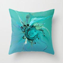 Turquoise on Turquoise by Mia Niemi Throw Pillow