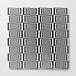 Black And White Symetric Geometric Rectangles Pattern Metal Print