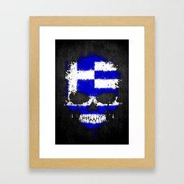Flag of Greece on a Chaotic Splatter Skull Framed Art Print