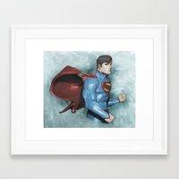 superman Framed Art Prints featuring Superman by Alex Heuchert
