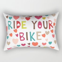 multicolor hearts red blue pink green love ride my bike bicycle motivation art decor designer work Rectangular Pillow