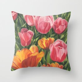 Pink and Yellow Tulips Throw Pillow