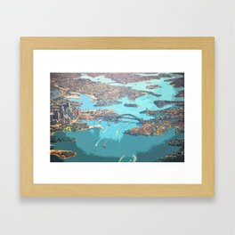 Blue Ocean Urban Bird's Eye View Framed Art Print