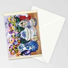 Pansies and Teapot oil Still Life Stationery Cards